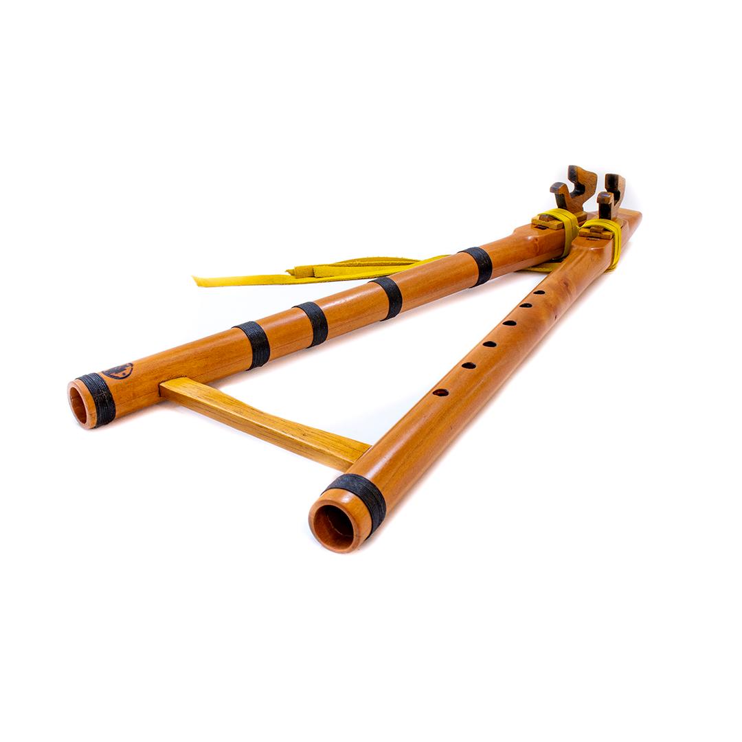 Flauta nativa americana doble tonoF drone rauli